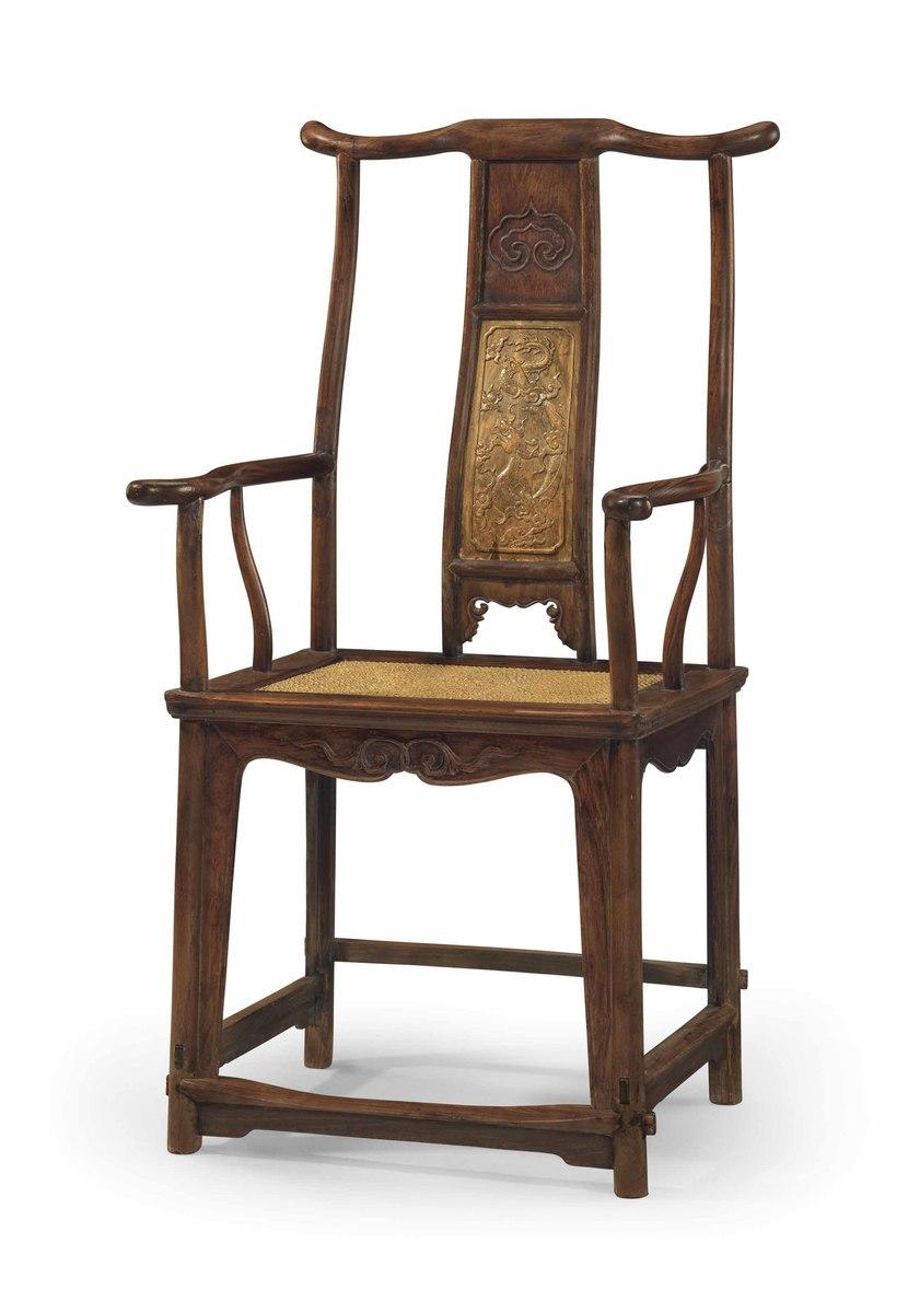 A Rare Large Nanmu Inset Huanghuali U0027Officialu0027s Hatu0027 Armchair,  Sichutouguanmaoyi 17th 18th Century